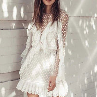 2019 Spring New Arrival Women Mini dress Mesh Dots Pattern Style Sexy White Dress Ruffled Style Long Sleeve Vocation Dress