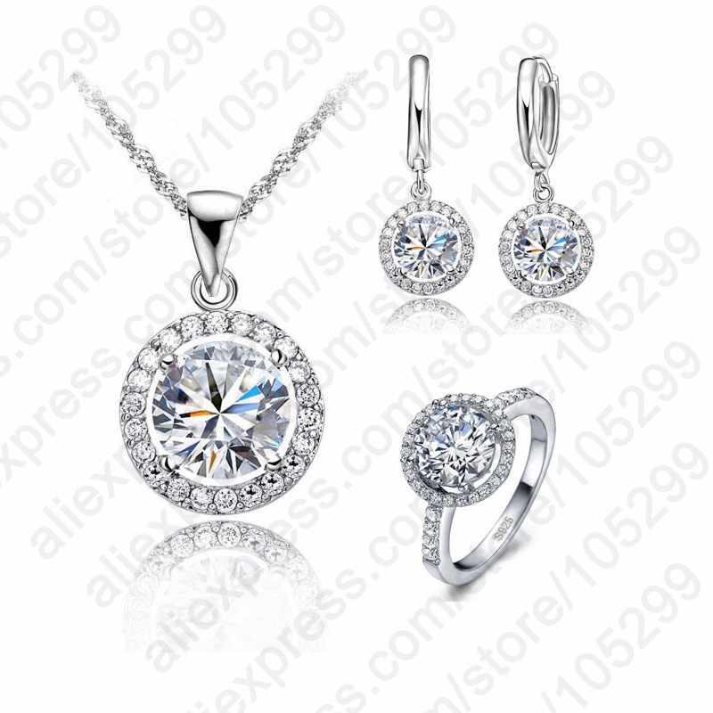 Exquise femmes mariage collier boucle d'oreille anneau ensemble de bijoux 925 en argent Sterling Zircon cristal ensemble de bijoux