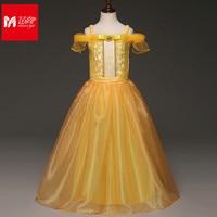 Kids Child Girls Cosplay Costume Christmas Day Happy New Year Halloween Fancy Dress Yellow Long Dress