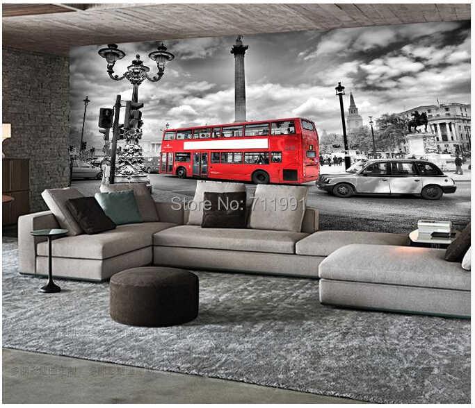Parete carta da parati personalizzata vintage London bus per un soggiorno TV sfondo KTV bar impermeabile carta da parati in vinile carta da parati 3D