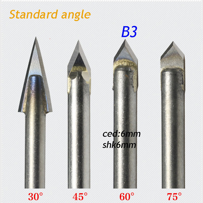 1pc standard 6*6mm 60 degree angle alloy Router Bits CNC engraving cutter Stone Carving Tools free shipping cnc router stone and wood engraving bits 1pc 45 60 90 degree 6mm pcd bit cnc diamond hard granite tools