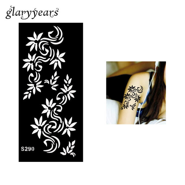 1 Piece Black Color Henna Tattoo Stencil Beauty Women Arm Body Art Airbrush Painting Hollow Flower Henna Tattoo Stencil Top S290