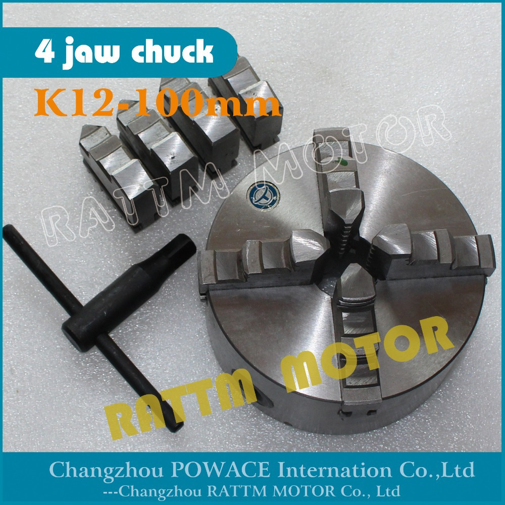 EU Delivery! K12-100mm / 4jaw K12-100mm Manual chuck self-centering chuck CNC Machine tool Lathe chuck RATTM MOTOR 80mm 4jaw independent lathe chuck k12 80 3 self centering chuck for cnc lathe drilling milling machine