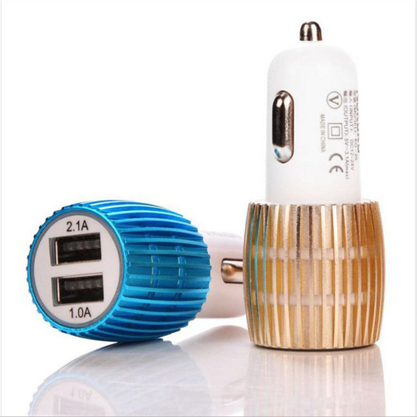 Car Charger Blue Light Alloy Cell Mobile Phone Charger 5V 1A 2.1A Dual USB Quick Charge Adapter For iPhone ios Android Phone (12)