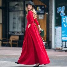 Verragee Женские винтажные длинное платье трапециевидной формы карман на осень-зиму Новинка 2017 плиссированные элегантный Высокая талия Марка большие размеры платье