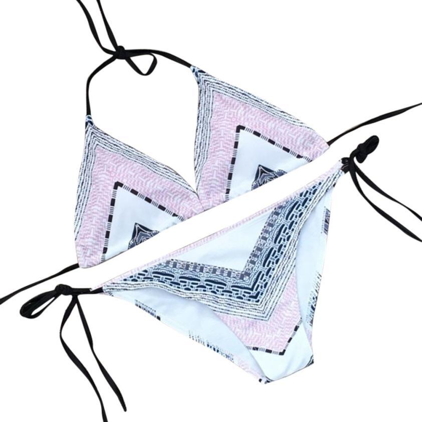 snowshine3 YLI Women Bikinis Push Up Bikini Set Geometry Swimwear Slim Print Swimsuit Beach