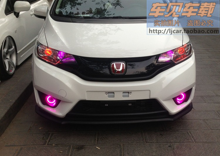 LED DRL daytime running light COB angel eye, projector lens fog lamp with cover for honda fit, 2 pcs, wireless swtich
