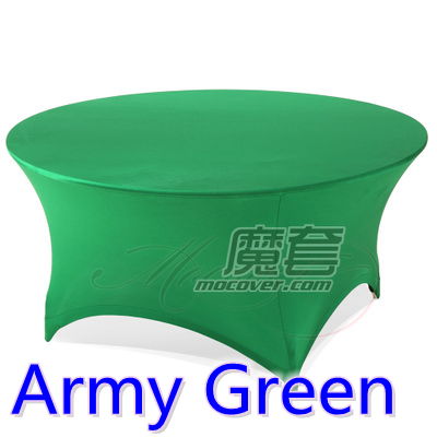 Spandex Table Cover Army Green Round Lycra Stretch Table