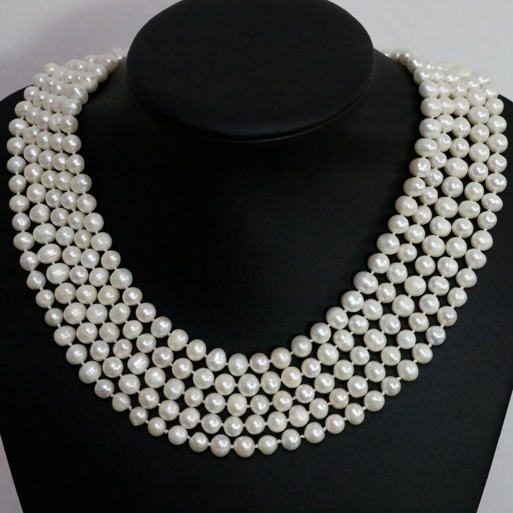 купить Beautiful natural freshwater cultured white pearl round beads 7-8mm fashion women long chain necklace jewelry 100inch B1463 по цене 5336.2 рублей
