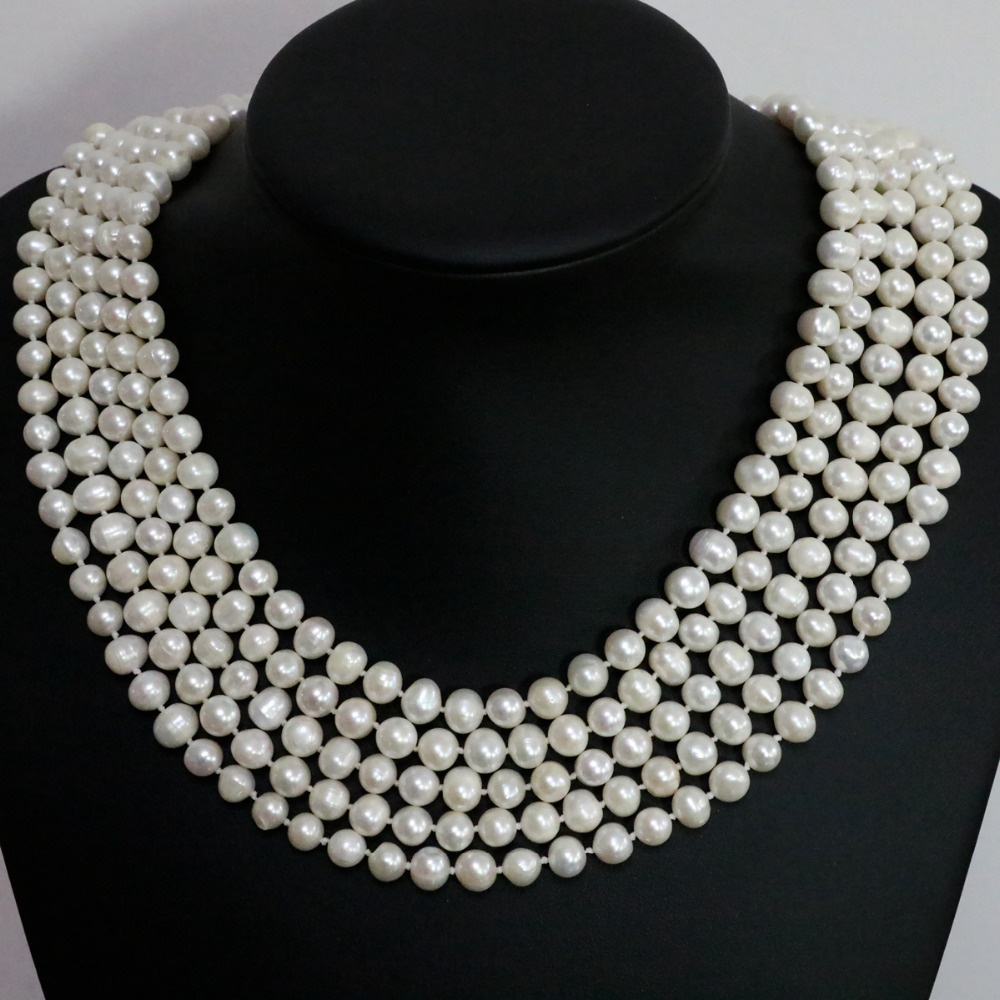 Beautiful natural freshwater cultured white pearl round beads 7-8mm fashion women long chain necklace jewelry 100inch B1463