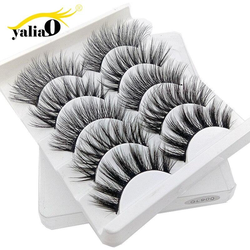 YALIAO 3D False Eyelashes 5 Pairs Natural Thick Makeup Eye Lashes Eyelash Extension High Quality Fake Eyelashes For Beauty