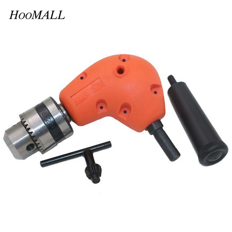 Hoomall Right Angle Drill Conversion 90 Degree Transfer Head Shank Aluminum Electric Drill Chuck For Metalworking Power Tools right angle drill attachment three jaw chuck key adapter handle accessory tool