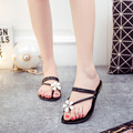 2016 Nueva Llegada Del Verano Sandalias de Las Mujeres Zapatos de Las Mujeres Cadenas de Metal Flip Flops Pisos Sandalias de Playa Talón Plano 35-40 envío Gratis