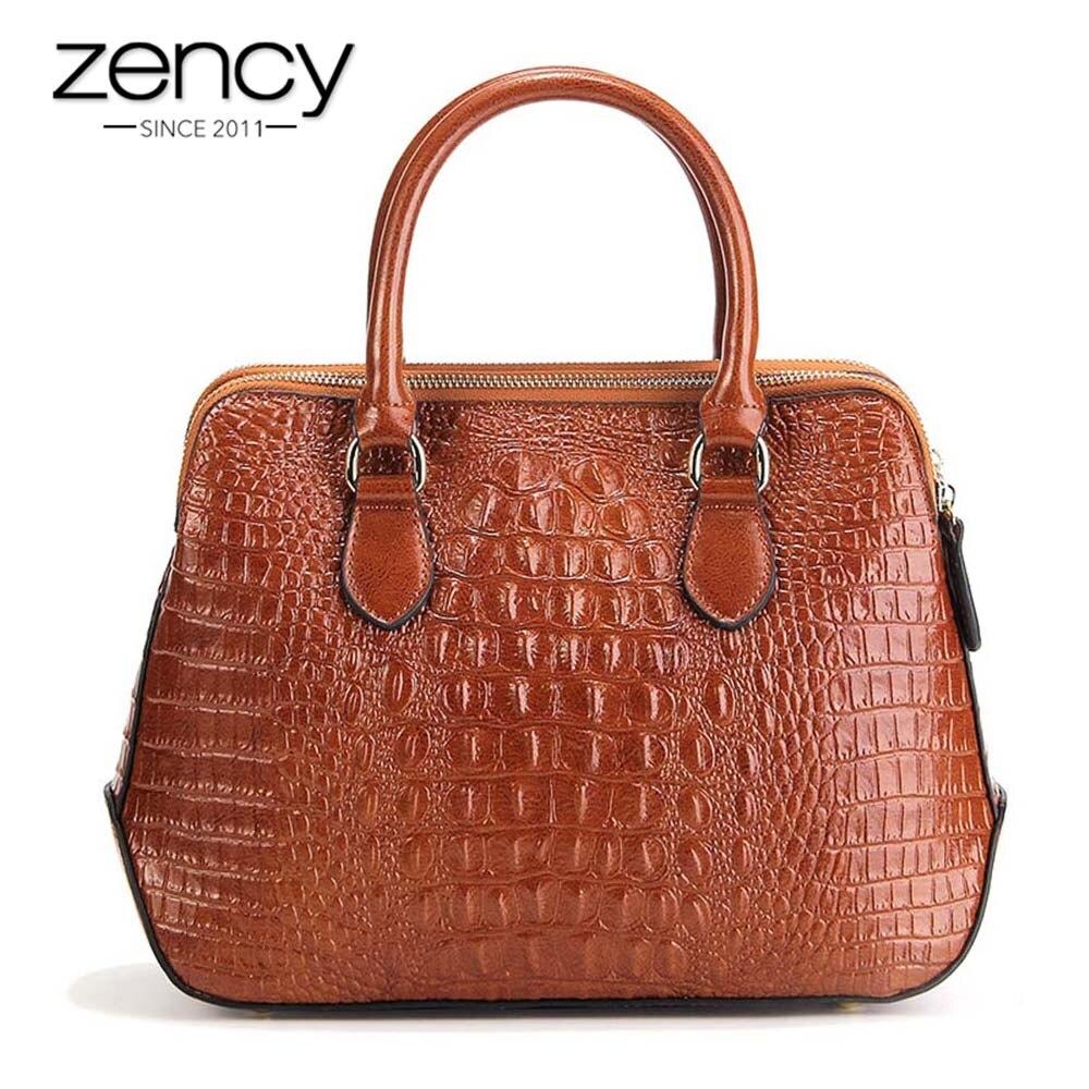 Zency Alligator Women Handbag 100 Genuine Leather Casual Tote Fashion Lady Crossbody Messenger Bag Classic Black