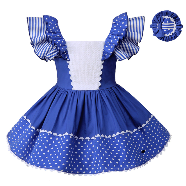 a69409c3a Pettigirl Girls Dresses 2018 Stripe Girls Clothes Blue Dots Childrens  Clothing Summer Fly Sleeve With Headwear Kids Wear