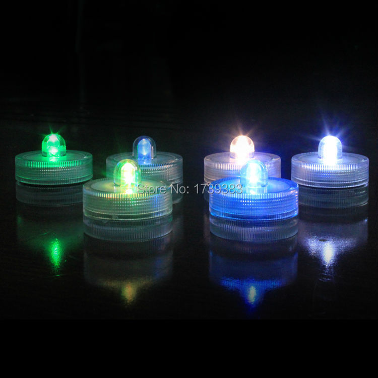 120pcs/lot Super Bright Underwater Submersible LED Lights Batteries Candle Tea Light for Party/Family Dinner/Bar Decor