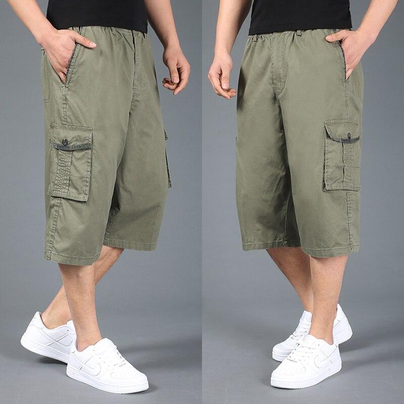 Free shipping summer plus size men shorts xxl 4xl 5xl 6xl cotton casual shorts khaki elastic waist short trousers hiphop