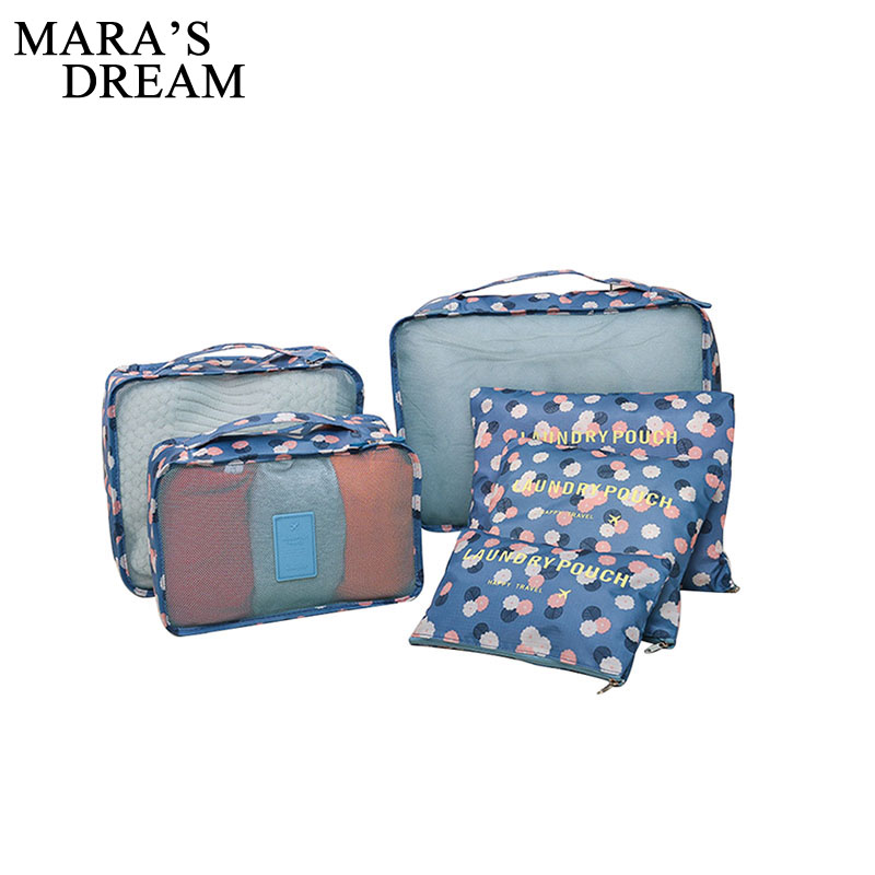 Mara's Dream 6PCS/Set High Quality Oxford Cloth Travel Mesh Bag Luggage Organizer Packing Cube Organiser Travel Bags