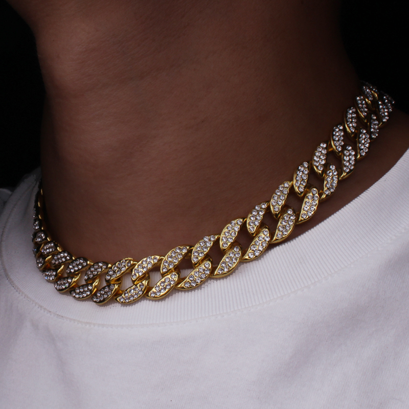 Karopel Iced Out Bling Strass Goldene Finish Miami Cuban Link Kette Halskette männer Hip hop Halskette Schmuck 16,18, 20,24 zoll