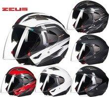 Дизайн марок ЗЕВС двойной линзы мотоциклетный шлем пол-лица мотоцикл байкер four seasons защитные шлемы для человека женщин ZS-611e