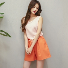 Fashion Summer Shorts Cotton and Linen Wide-legged Hot Short Three Minutes Short S-XXL 9 Color to Choose Rope Together