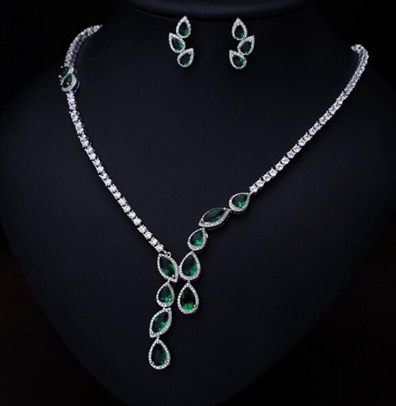 White Gold Color Poem of Spring Top quality Cubic Zirconia Bridal Jewelry Set Necklace Bridal Jewelry Sets For Women AS092