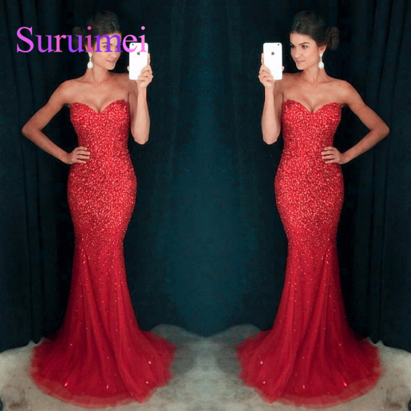 New Crystal Beaded Sparkle Vestidos De Baile Tulle Sexy Long Prom Dresses 2018 Vestido De Festa Curto Evening Party Dress Hot