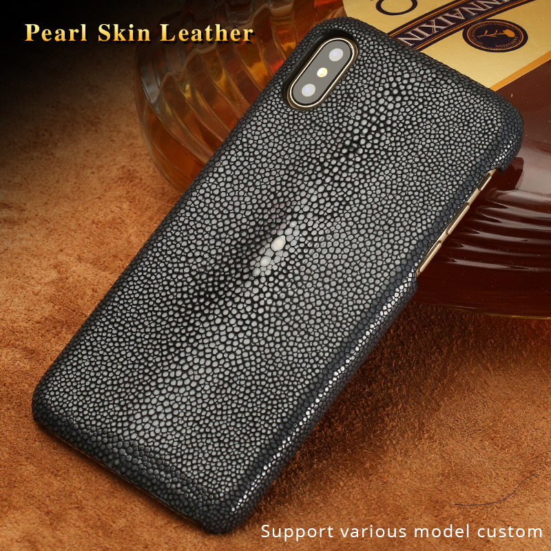 Genuine Stingray leather Case for iphone 11 Pro max XS MAX XR XS X 6 6S 7 8 plus Luxury leather Handmade Craft Custom Back Cover|Half-wrapped Cases| |  - title=