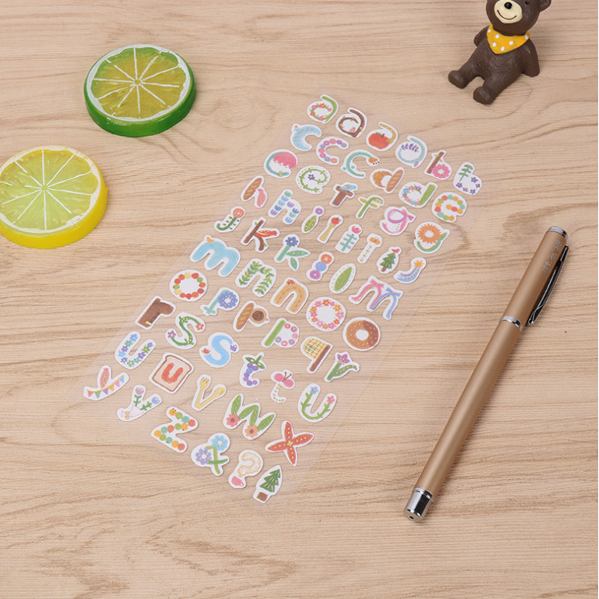 10packs lot Sticker English Alphanumeric Retro Diary Gilding Transparent Stickers Sticky Notes in Stationery Stickers from Office School Supplies