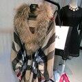 2016 Nueva Moda Abrigo de Invierno Genuino de Las Mujeres de piel de Zorro Natural Abrigos de cuello de Piel Verdadera Suéter Largo Mujer Chaqueta de Abrigo Mex visón