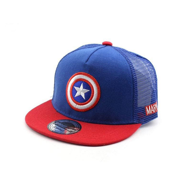 Unisex Child Baseball Cap Summer Mesh Patchwork Captain America Adjustable Snapback  Hip-hop Baseball Hat Kid Chapeau MZ3724