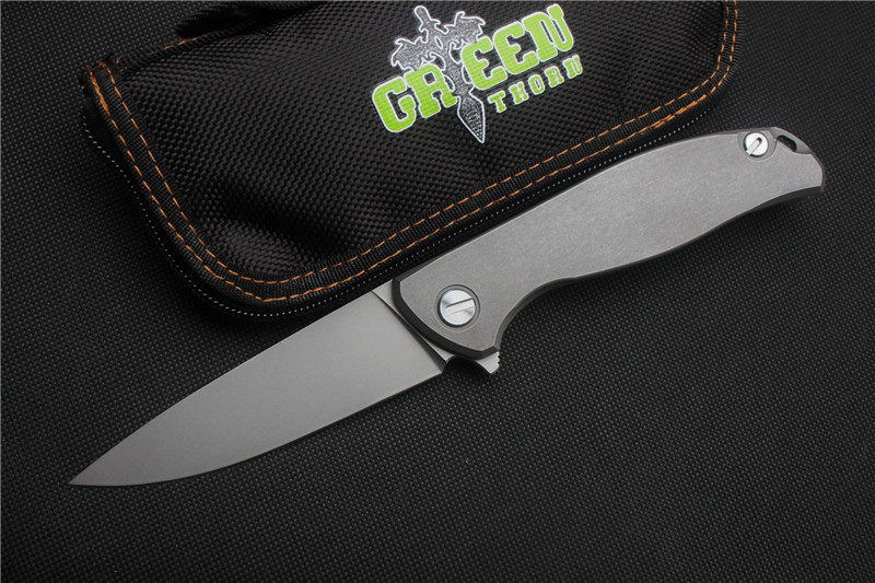 Green thorn F95 Flipper folding knife D2 blade TC4 Titanium Flat handle outdoor camping hunting pocket fruit knife EDC tools