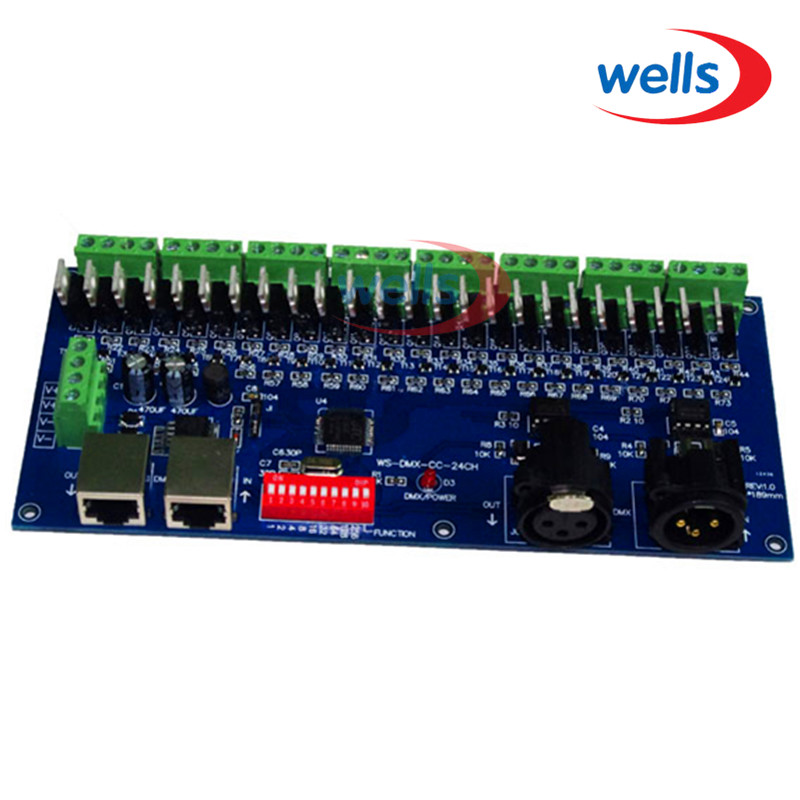 ФОТО 24CH dmx512 decoder Controller, LED DMX RGB controller Common Anode,RJ45,5Ax3RGB CH