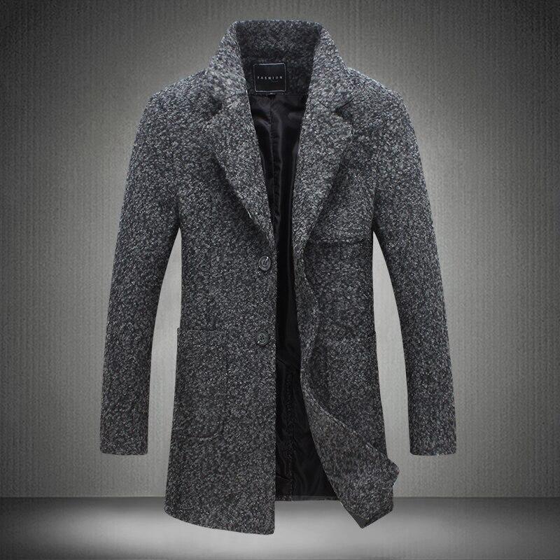 US $38.49 45% OFF|2019 neue Lange Graben Mantel Männer Windschutz Winter Mode Herren Mantel 40% Wolle Qualität Dicke Warme Graben Mantel Männlichen