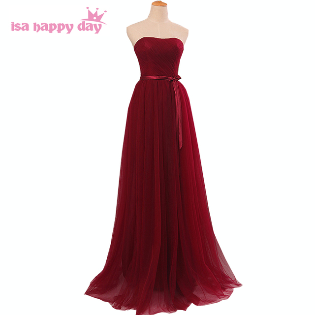ladies long formal dakr red burgundy dress strapless woman for a ...