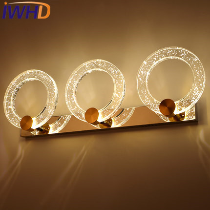 IWHD Bathroom Mirror Light LED Wall Lamp Modern Waterproof Stainless Steel Wall Lights For Home Lighting Fixtures Lampara Pared dvolador luxury crystal led mirror front light 10w 15w ac110 220v bathroom waterproof anti fog led stainless steel wall light