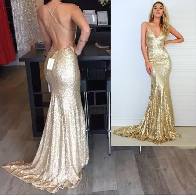Real Picture Champagne Gold Mermaid Prom Dress 2017 Sparkle Long