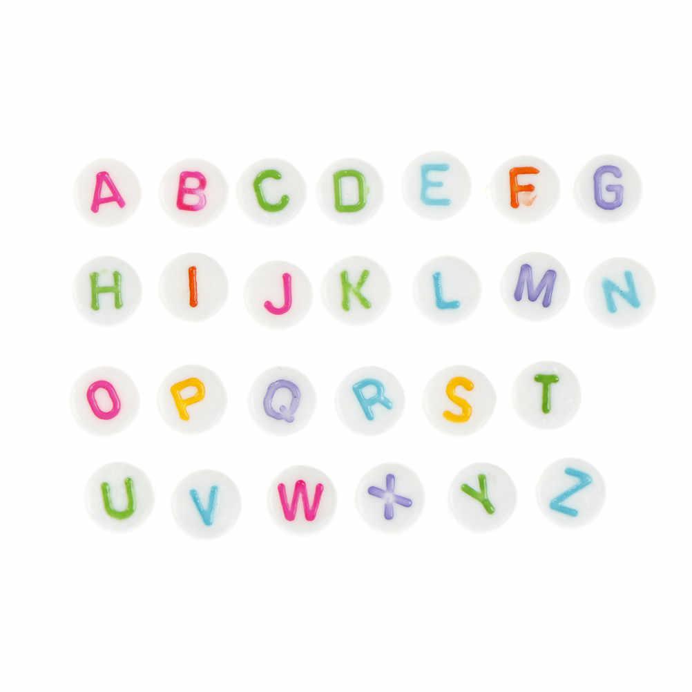 100 pçs/pçs/set alfabeto contas para diy jóias & chupeta clipe multicolorido acrílico redondo esculpido letras alfabetos jóias do bebê