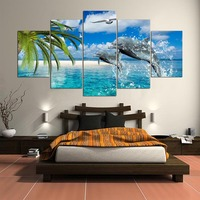 Home Decor Canvas Painting Top Rated Modular Picture 5 Panel Animal Dolphin Landscape Painting Wall Picture For Living Room