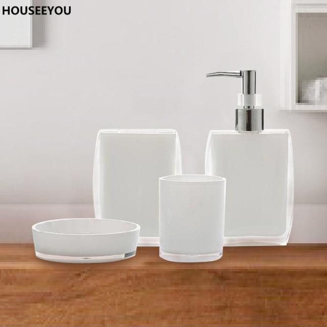 Bath Ensemble Bathroom Soap Dish Lotion Dispenser Toothbrush Holder Cup  Bathroom Vanity 4 Pcs/Set
