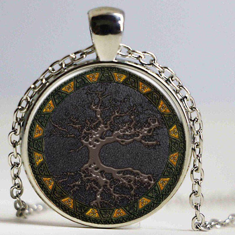 Celtic จี้จี้สร้อยคอ vintage เครื่องประดับต้นไม้ขนาดเหรียญสร้อยคอสร้อยคอสร้อยคอเงินผู้หญิง choker