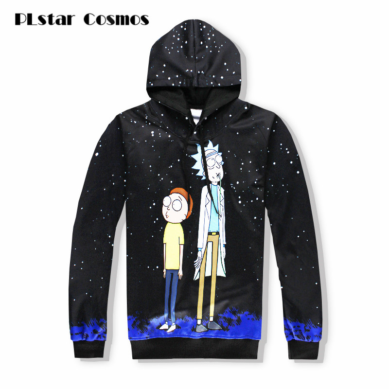 PLstar Cosmos Black Hoodies Men Women Rick&Morty 3d Funny Hoodies With Hat Hip Hop Cartoon Print Tracksuit Hooded Tops Dropship