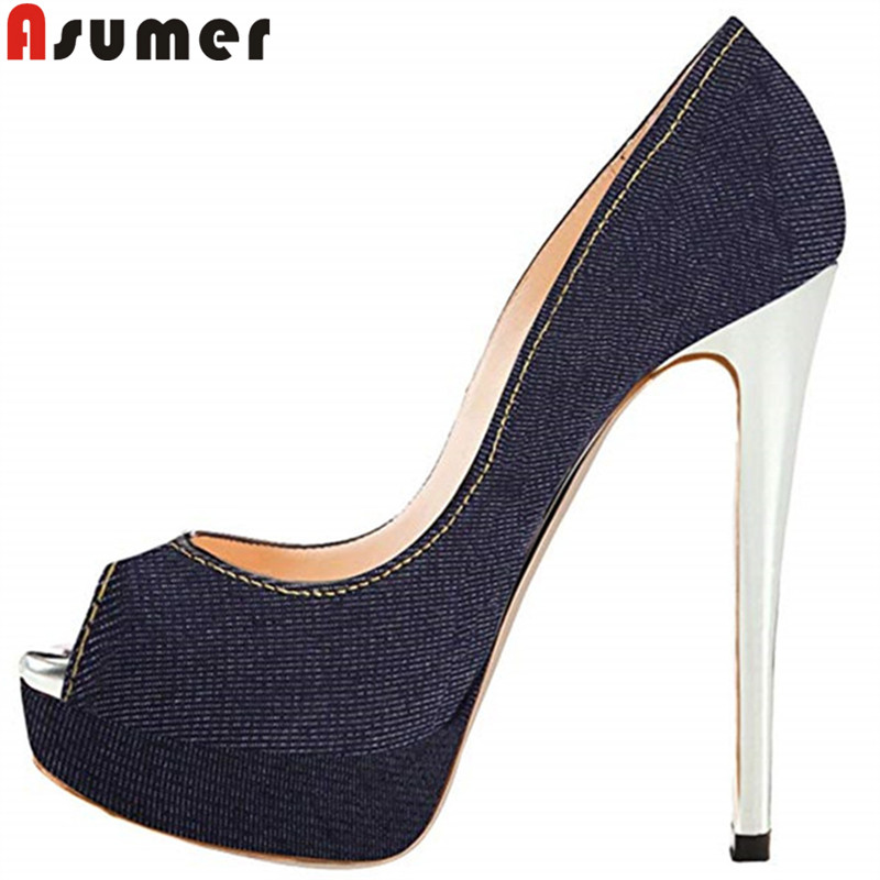 ASUMER fashion hot sale new high heels shoes woman peep toe shallow pumps women shoes platform super high heels wedding shoes 2017 new high heeled shoes woman pumps wedding shoes platform fashion women shoes red high heels 11cm suede