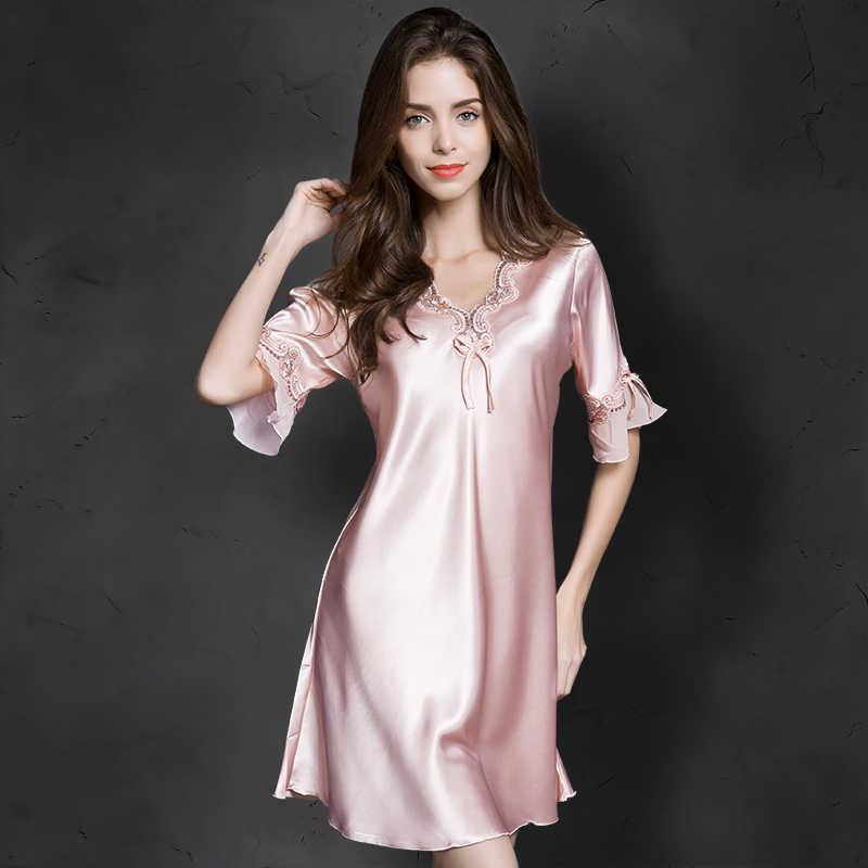 b71bb75fe31 Cool Ladies Silk Sleepwear Summer Nightgown Sexy Lingerie Pink Nightdress  for Women Satin Sleep Shirts Chemise