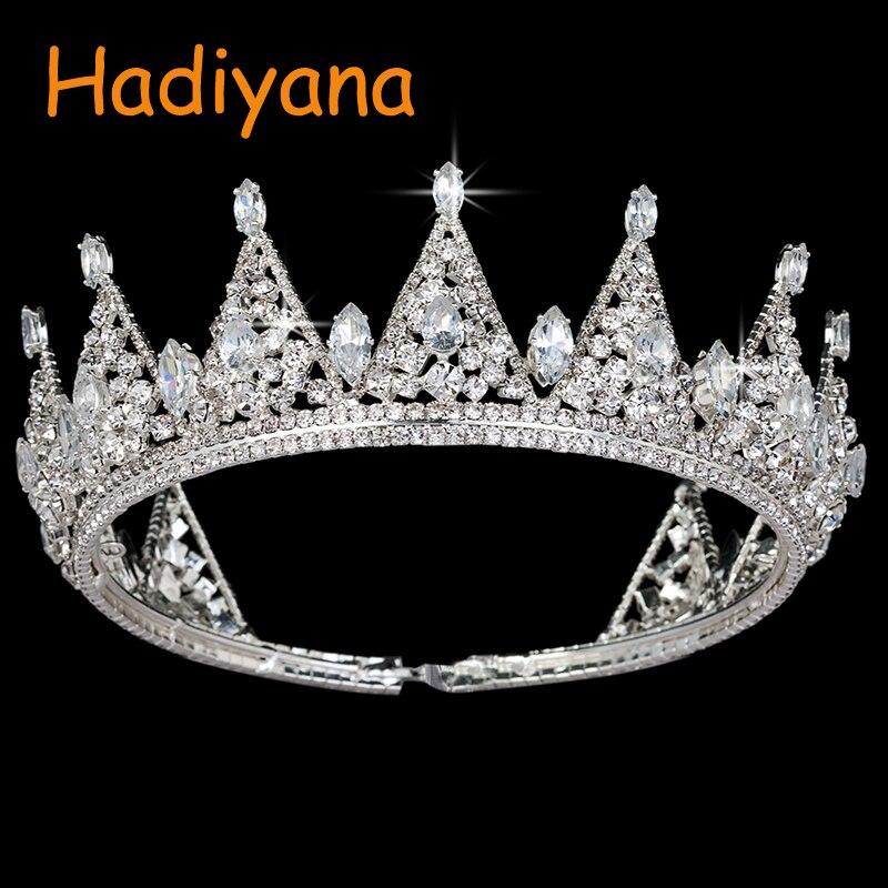 Hadiyana, классический дизайн, стильные свадебные аксессуары, свадебные диадемы для волос, блестящие стразы, золотой треугольник, большая корон