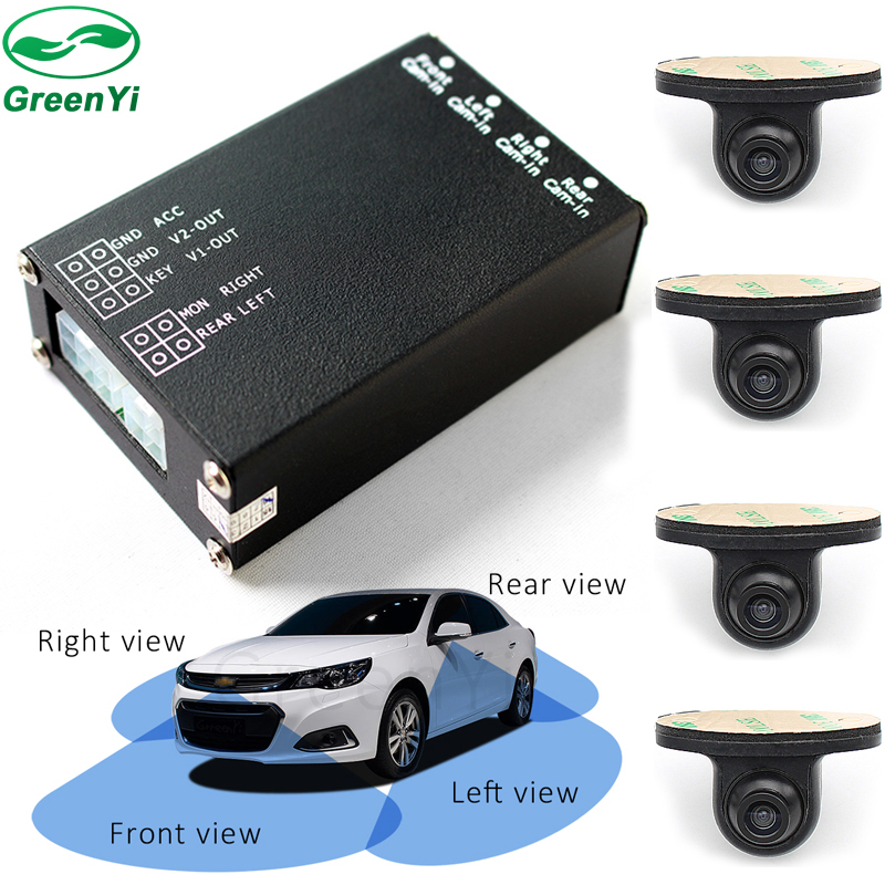 Greenyi System. 360-Degrees Camera-Switch-System Assistance Car-Monitor Parking-Video