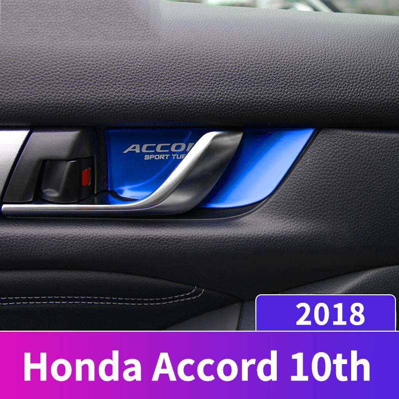 Stainless Steel Car styling interior Door wrist Bowl Cup Trim Sticker Covers For Honda Accord 10th 2018 Accessories-in Interior Mouldings from Automobiles & Motorcycles