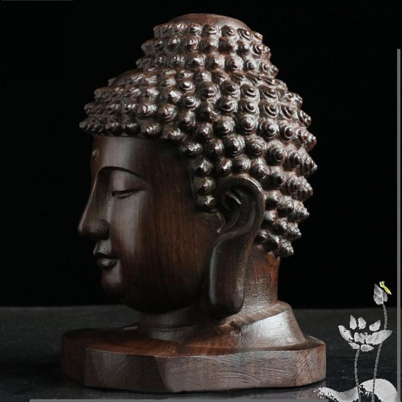 Buddha Head Wooden Figurine 4