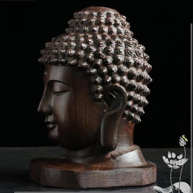 6cm de madera de estatua de Buda Sakyamuni Tathagata estatuilla de la India Cabeza de Buda estatua artesanía decorativa envío de la gota