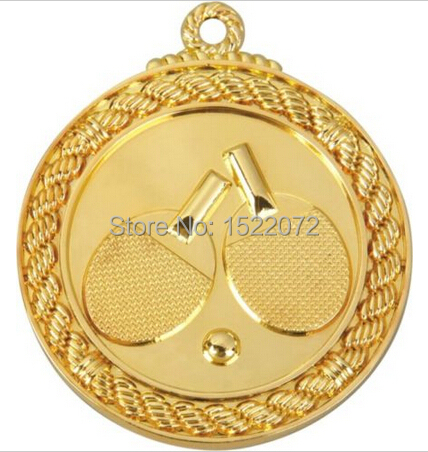 Top sell factory price SHINY Gold Ping Pong Table Tennis Medals Ribbn low price custom gold silver medals ribbon FH810034